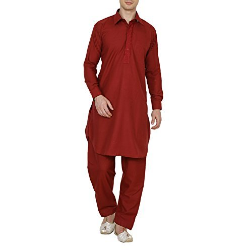 Primary image for Royal Traditional Poly Cotton Pathani Suit Red Men's Diwali Kurta Pajama Ethnic