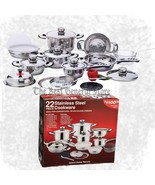 22pc 7-Ply 22-Element Heavy-Duty Stainless Steel Cookware Set Pots and Pans - $141.99
