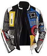 Men's Rock Punk  Retro Spike Studded Multicolor real Leather Biker Jacket  - $160.55+
