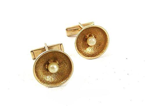 Vintage Goldtone & Faux Pearl Cufflinks By PIONEER 51817