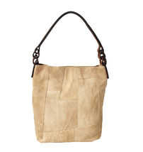 Women's Leather Patchwork Boho Chic Purse Quilted Lined Transport Tote Handbag image 10