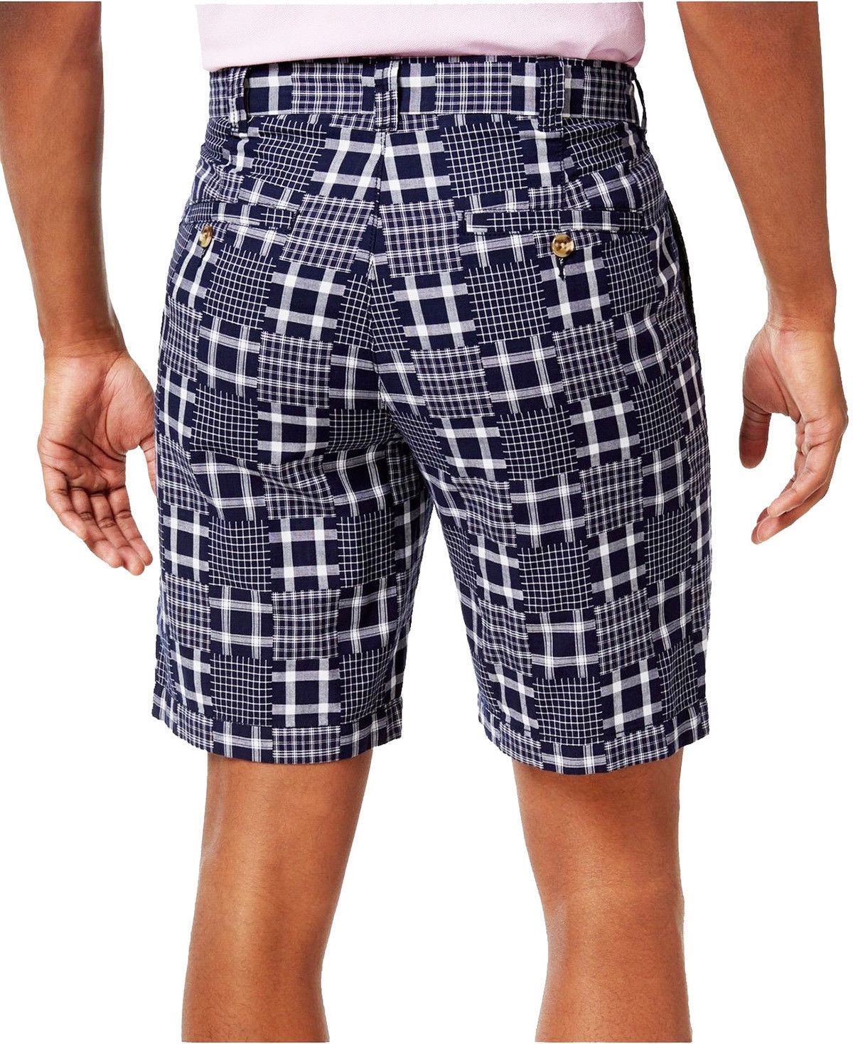Club Room Mens Patchwork Shorts In Navy Blue