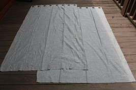 Pottery Barn Emery Grommet Gray Linen Cotton Curtains 2 Panels 50x84 - $77.90