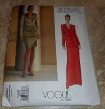 Vogue Bill Blass Designer Misses Jacket & Skirt Sewing Pattern Size 18-2... - $11.00