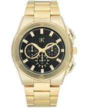I.N.C. Men's 44.5mm Black & Gold Tone Sub Dial Link Bracelet Wrist Watch NIB image 1