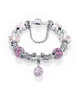 Women Stunning Pink Luxurius Murano Crystal Stone Charm Bracelet Gift - $12.99