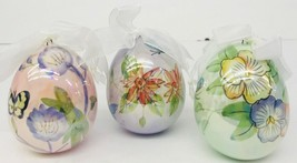 Glass Easter Ornaments Glazed Glass Set of 3 Egg Shaped Hand-painted Hol... - $49.49