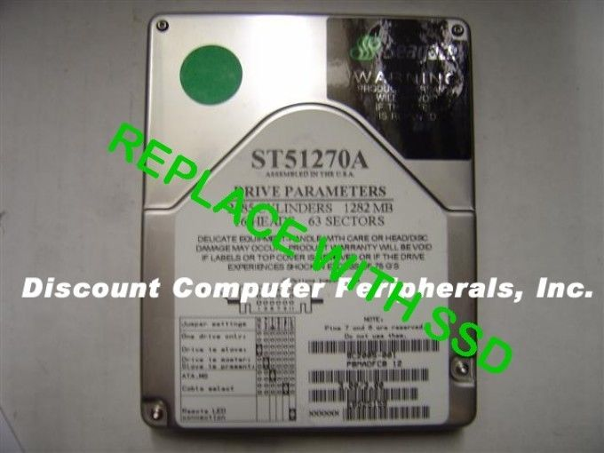 "Seagate ST51270A 3.5"" IDE Drive Replace with this SSD 2GB 40 PIN IDE Card"