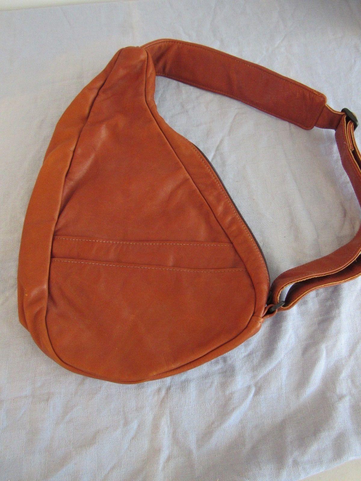 AmeriBag Healthy Back Bag Nylon Sling Bag Brown Leather