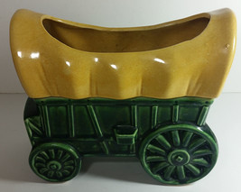 Vintage Covered Wagon Planter 8in Ceramic Green Yellow Mid Century Weste... - $24.99