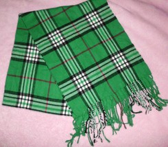 "CASHMERE SCARF Scotland Made Plaid Fringed Green White Black 63""x12""  - $22.76"