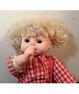 Cloth & Vinyl Thumb Sucking Doll HONG KONG CITY TOYS BLONDE HAIR OPEN/CL... - $26.73