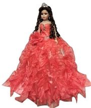 Porcelain Quinceanera Umbrella Doll (Quince Anos) Coral Centerpiece Doll... - $59.97