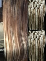 """18"""",20"""",22"""",24"""" 100% Remy Human Highlighted Hair Extensions 7Pcs Clip in #6/613  - $69.29+"""