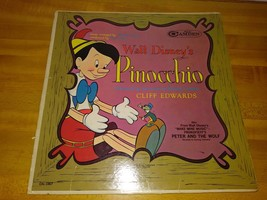 Vintage LP Record WALT DISNEY 1949 PINOCCHIO NARRATED BY JIMINY CRICKET - $3.95