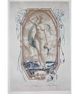 NUDE EX LIBRIS Sea Goddess Stands on Waves Flying Bird - 1922 Lichtdruck... - $19.80