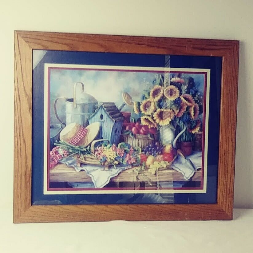 Home Interiors Picture Sunflowers Hat Birdhouse Fruit Sold Wood Frame