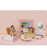 Sylvanian families bedroom set and bed dressing table mirror and vanity ... - $67.53