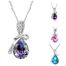 Women Fashion Silver Chain Crystal Rhinestone Pendant Necklace Jewelry G... - $9.95