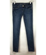 American Eagle Womens Size 2 Long 2L Skinny Stretch Denim Jeans Dark Was... - $29.87