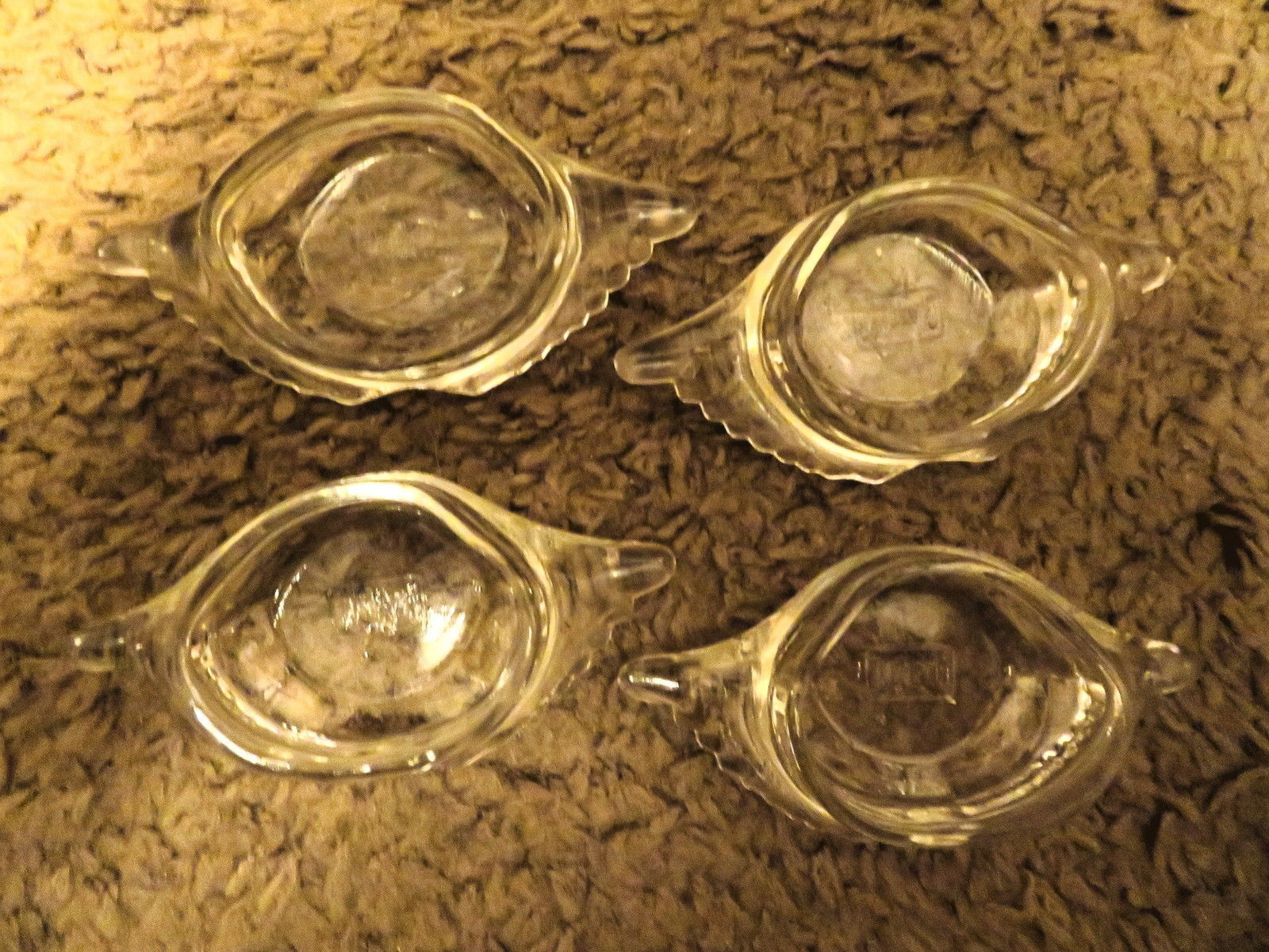 4 Clear Glasbake Stuffed Crab Baking Dishes