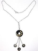 Collier Argent 925, Chaîne Billes, Fleur, Cœurs, Disques Pendentifs, Bicolore image 2