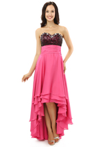 Hot Pink Prom Dresses High Low Style, Formal Dress,Evening Gown, Party Dress  - $149.00