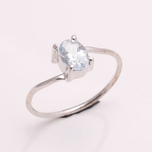 NATURAL AQUAMARINE 6*4 MM OVAL 925 STERLING SILVER 5.75 US RING TA1113069 - £12.93 GBP
