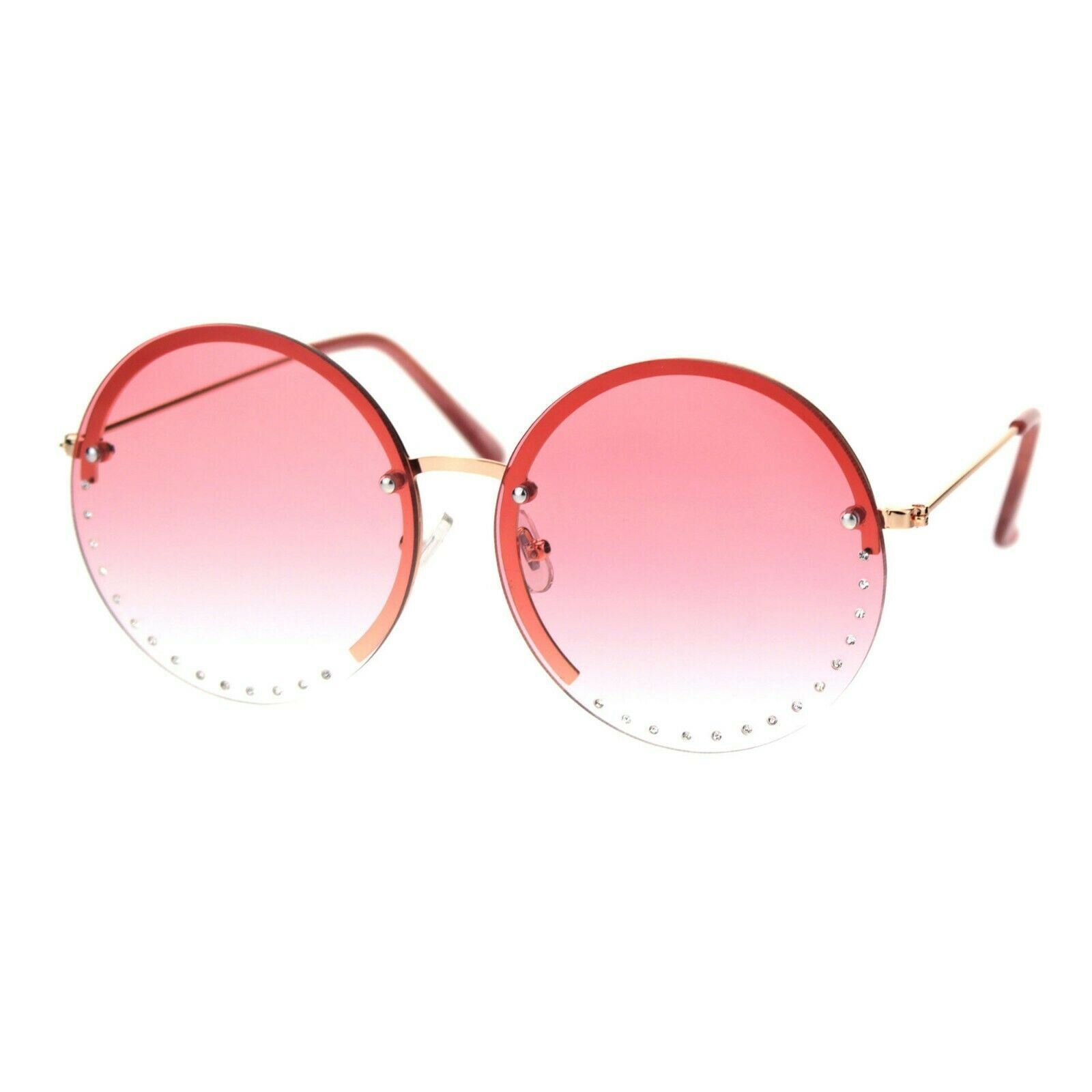 Round Circle Half Rim Sunglasses Rhinestone Decor Gradient Lens UV 400