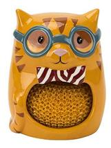 Scrubby & Sponge Holder, Smarty Cat Collection, Hand-painted Earthenware by Bost - $7.92