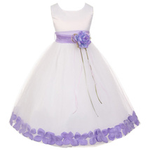 White Satin Bodice Layers Tulle Skirt Lilac Flower Ribbon Brooch and Petals - $48.00