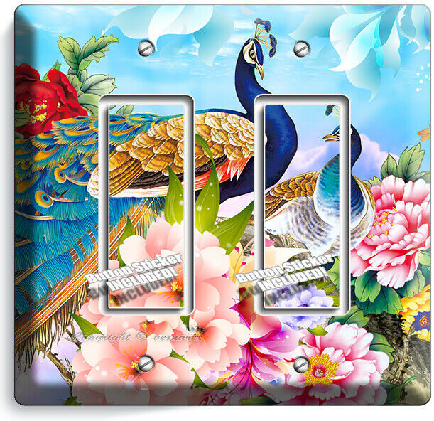 FLORAL PEACOCK BIRDS COLORFUL FEATHERS 2 GFCI LIGHT SWITCH WALL PLATE ROOM DECOR