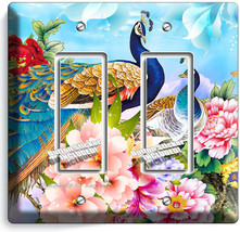FLORAL PEACOCK BIRDS COLORFUL FEATHERS 2 GFCI LIGHT SWITCH WALL PLATE RO... - $12.99