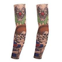 PANDA SUPERSTORE 1-Pair Clown Temporary Tattoo Sun Sleeves Body Art Arm Covers f