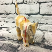 """Carved Rustic Folk Art Kitty Cat Christmas Tree Ornament 4.5"""" Collectible - $9.89"""