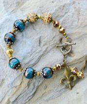 statement bracelet, crystal bracelet, Murano Glass Bracelet, Blue glass ... - $23.99