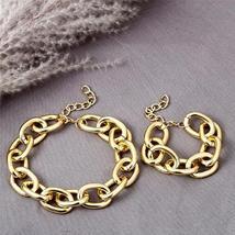Designer Style Gold Alloy Link Chain Bracelet Matching Choker Necklace Set image 2