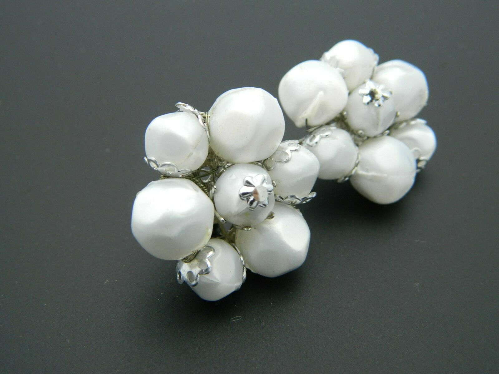 CORO White Acrylic Bead Beaded Silver Tone Flower Clip-On Earrings Vintage