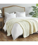 """Luxury Handmade Ivory Chunky Cable Knit Throw Blanket - 50x60"""" - $94.99"""