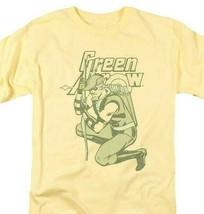 Green Arrow T-shirt retro 80s DC comic book cartoon superhero yellow tee DCO801 image 1