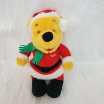 "10"" Vtg 1995 90s Disney Winnie the Pooh Christmas Santa Bear Plush Toy B174 - $6.00"