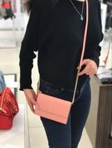 Michael Kors JET SET TRAVEL LG Phone Crossbody Bag Leather Pale Pink NWT - $86.99