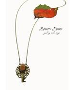 Heritage Drop Necklace: silk vintage button, antique brass filigree foca... - $15.00