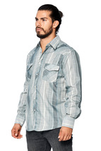 LW Men's Classic Checkered Striped Western Rodeo Pearl Snap Button Up Shirt image 12