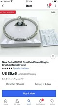 New Delta 138033 Crestfield Towel Ring in Brushed Nickel Finish - $4.94