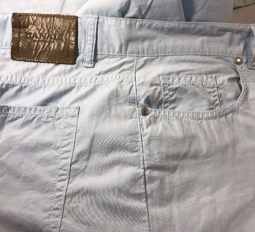 Canali Pants Lightweight Men's 34x37 Cotton Light Blue Made Italy Dress Casual