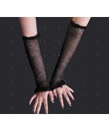Long black mesh fishnet gloves festive arm warmers goth punk  - $20.75