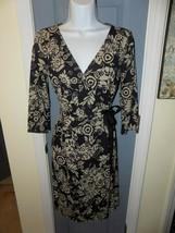 Ann Taylor LOFT Petites Brown Wrap Design Dress Size 2P Women's EUC - $33.82