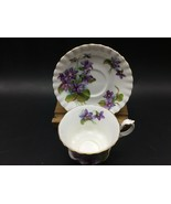 Royal Albert Footed Cup Saucer Purple Violet Gold Cup Montrose Shape 1970-1980 - $24.85