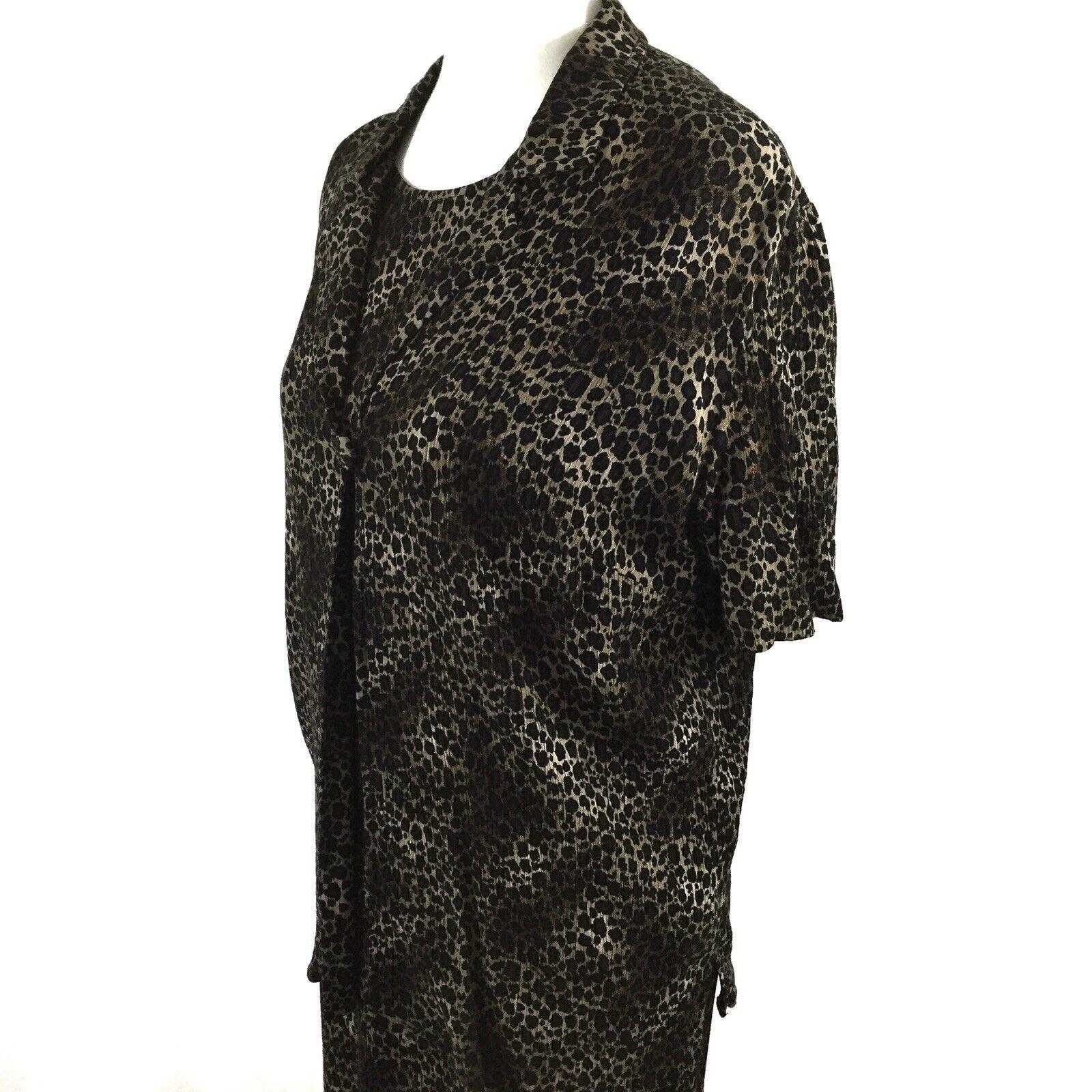 KSL Karin Stevens Sleeveless Maxi Dress and Jacket Size 14W Brown Animal Print image 5